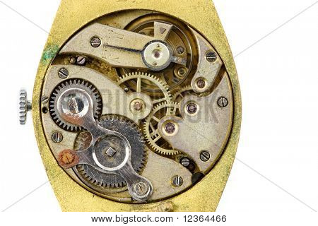 Antique golden wristwatch mechanism on white background
