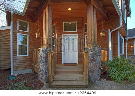 Front Door Of Cedar Wood  Home