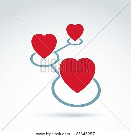 Hearts and connections icon Online Dating vector conceptual stylish symbol for your design.