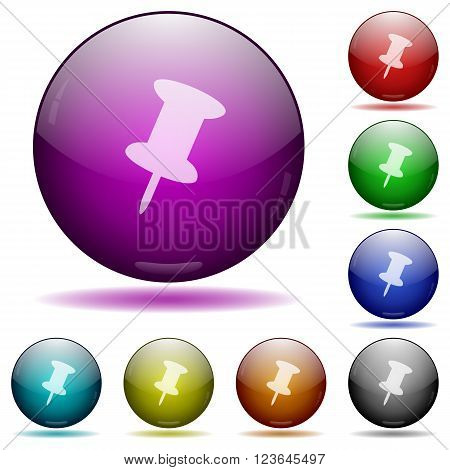 Set of color pin glass sphere buttons with shadows.