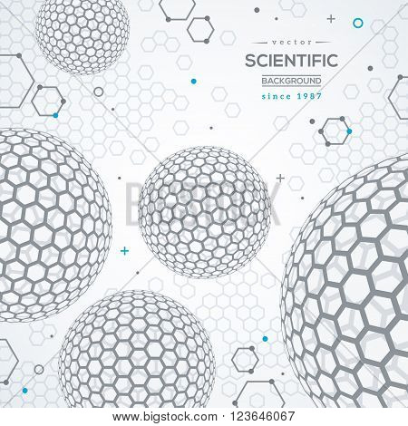 Geometric technology concept background. Scientific future backdrop. 3D abstract spheres, fullerene. Wireframe particles.