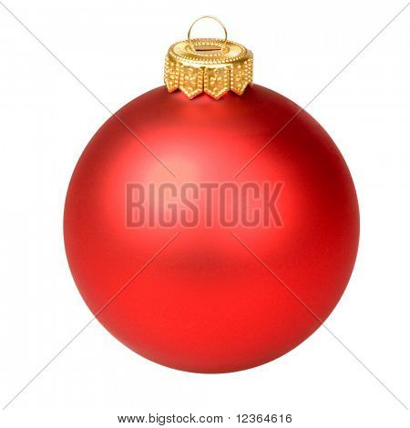 Red Christmas bauble on white background