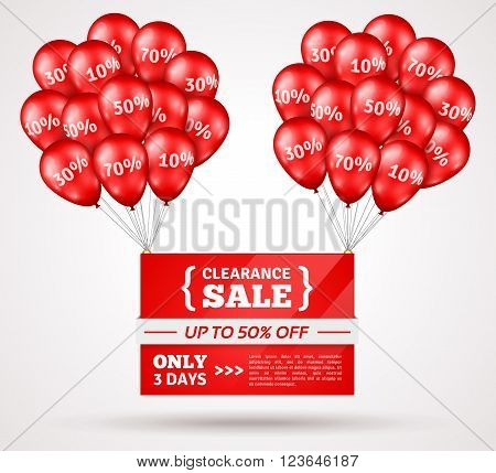 Red Shiny Flying Balloons with Sale Banner. Vector Illustration. Concept of Discount. Design elements template for holiday sale event. Big Bunches of Red Balloons with Percent Signs.