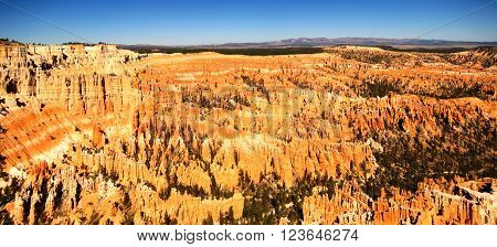 Hoodoos, typical geological features of Bryce Canyon, as seen from Bryce Point (Utah, USA)