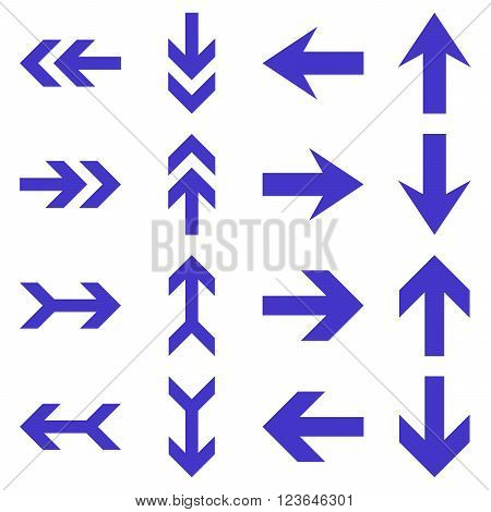 Arrow Directions vector icon set. Collection style is violet flat symbols on a white background.