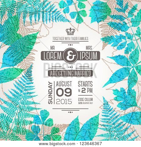 Wedding invitation card design with typography template for text and forest leaves. Fern and forest herbs silhouettes. Wedding theme with organic motif. Vector illustration. Save the date card.
