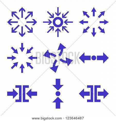 Compress and Explode Arrows vector icon set. Collection style is violet flat symbols on a white background.