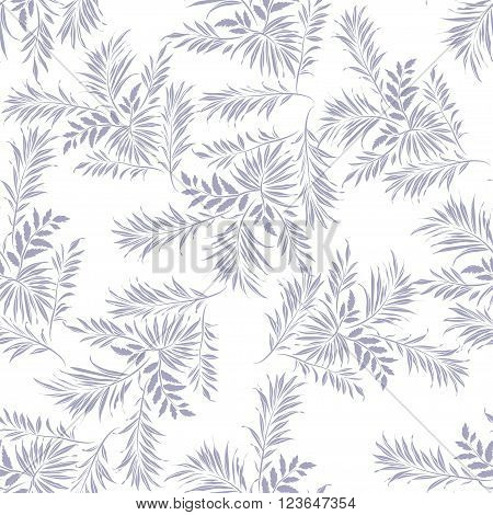 Palm leaves. Grey silhouette on white background. Seamless pattern vector illustration