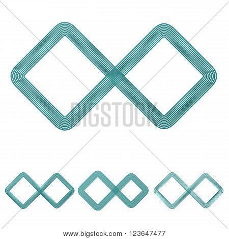 Teal line infinite logo icon design set