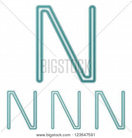 Teal line letter n logo design set