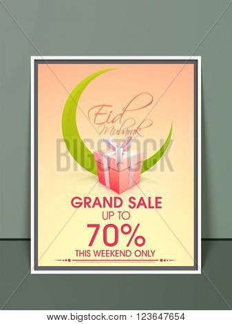 Grand Sale Pamphlet, Banner or Flyer design with illustration of green crescent moon for Islamic Famous Festival, Eid Mubarak celebration.