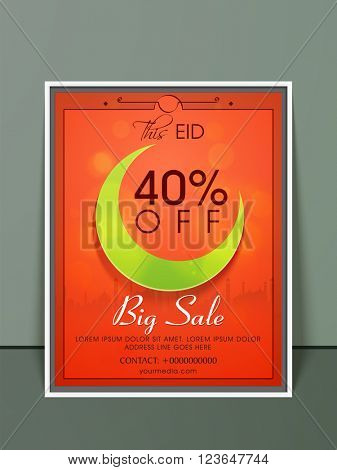 Big Sale Pamphlet, Banner or Flyer design with illustration of glossy crescent moon for Islamic Holy Festival, Eid celebration.