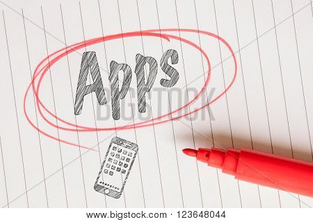 Apps message on linear paper in a red circle