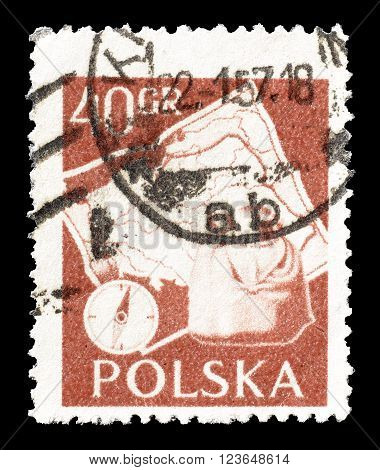 POLAND - CIRCA 1957  : Cancelled postage stamp printed by Poland, that shows Compass, backpack and map of Poland.