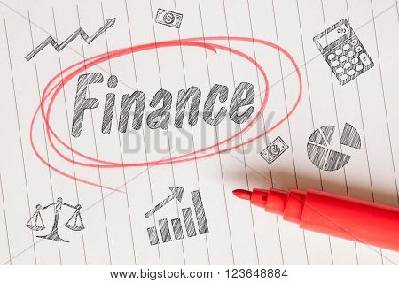 Finance note with a red circle and pencil sketches