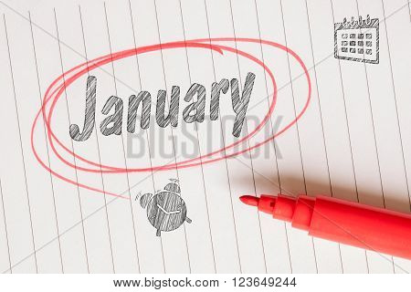 January Memo Note With A Red Marker