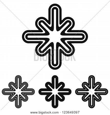 Black line mystic icon logo design set