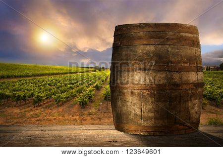 red wine bottle and wine glass on wodden barrel,