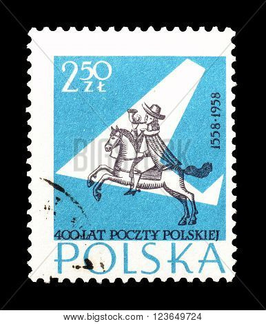 POLAND - CIRCA 1958  : Cancelled postage stamp printed by Poland, that shows Postilion and stylized plane.