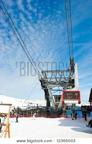 Aerial tramway at Courchevel ski resort, French Alps