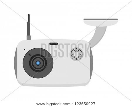 Web camera vector illustration, online isolated on white background.