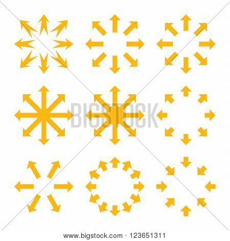 Maximize Arrows vector icon set. Collection style is yellow flat symbols on a white background.
