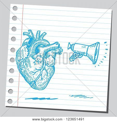 Heart with megaphone