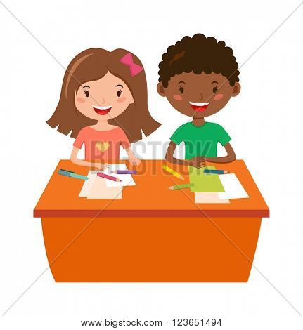 School kids education elementary school learning and people concept vector.