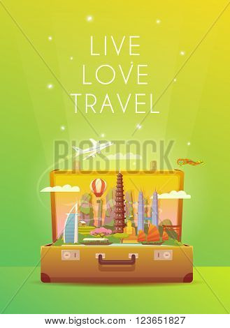 Trip to Asia. Travel to Asia. Vacation to Asia. Time to travel. Road trip. Tourism to Asia. Travel banner. Open suitcase with landmarks. Vertical travelling illustration. Wanderlust. Flat style.
