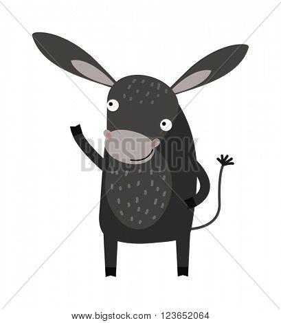 Funny cartoon gray donkey farm animal character vector.