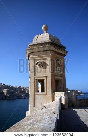 Watch tower in Valletta's fortifications La Valletta Malta