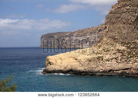 Coastline, beautiful cliffs of Gozo Island, Malta