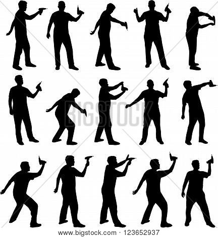 man with electric screwdriver or drill silhouettes black vector illustration