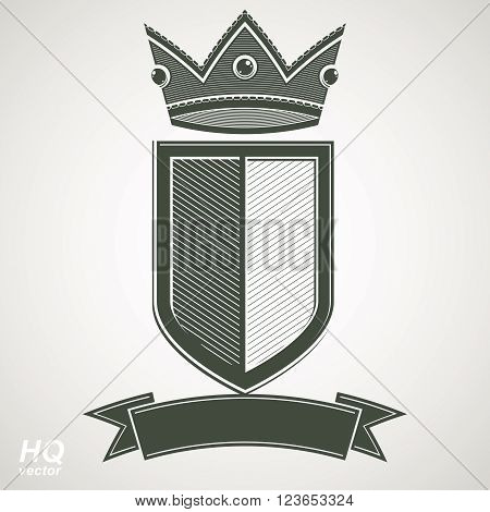 Heraldic royal blazon illustration - imperial striped decorative coat of arms. Vector shield with king crown and stylized ribbon. Majestic element best for use in graphic and web design.