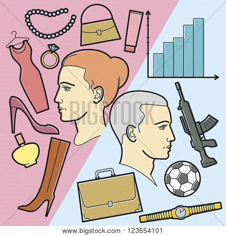 The man's head and woman's head. Illustration in the style of the linear design of women's and men's interests. The differences of male and female thoughts.