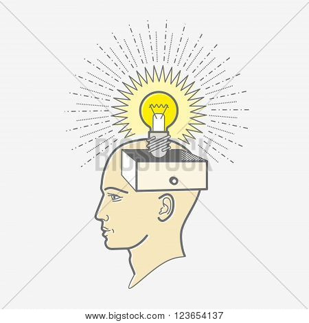 The man's head. Illustration in the style of linear design: idea, light bulb.