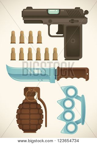 Weapon set. Vector illustration.