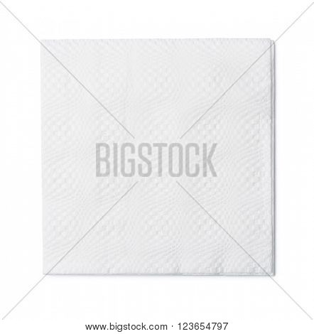Top view of white paper napkin isolated on white