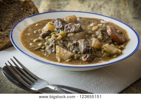 Authentic Irish beef stew with beer bread