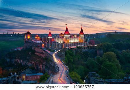 Old castle in Kamenetz-Podolsk in Ukraine night view