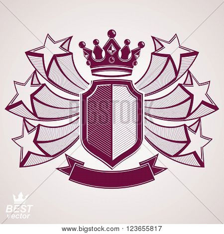 Empire stylized vector graphic symbol. Shield with 3d flying stars and imperial crown. Security idea. Elegant coronet web design icon.