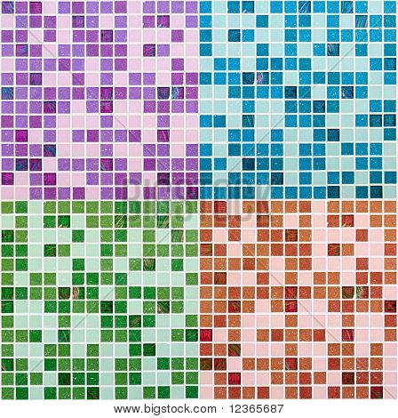 Set of varoius glass mosaics texture background