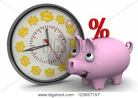 Time - interest on bank deposits. Analog Clock with symbols of the US currency and piggy bank with a red percent symbol on a white surface. Financial concept. 3D illustration. Isolated