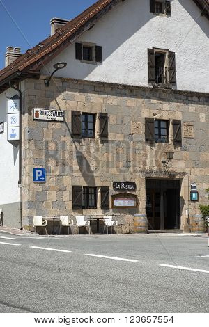 Spain Navarre JULY 10 2015 Roncevaux village is the first stop over the road to Santiago de Compostela, the famous pilgrimage on foot between France and Spain.one of the hostels where you can sleep