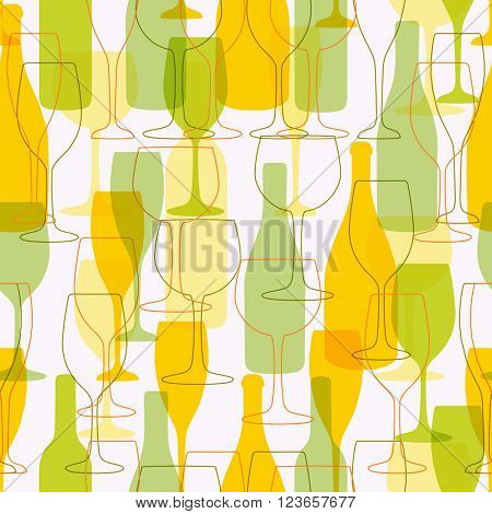 Seamless background with wine bottles and glasses. Bright colors wine pattern for web, poster, textile, print and other design. White wine design