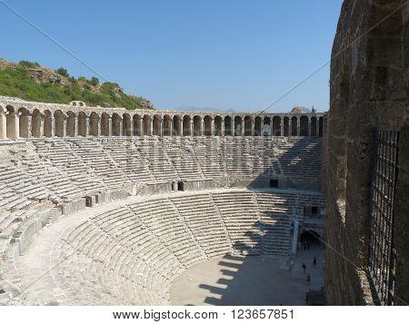 The ancient roman Aspendos Amphitheatre Anatolia Turkey