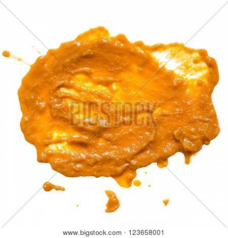 Blot with a splash of vegetable squash caviar isolated on white background. Square image