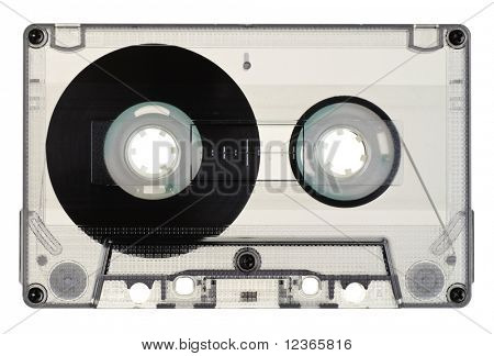 Vintage Transparent Compact Cassette on white background