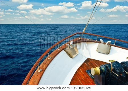 Bow of Pleasure boat sailing the Aegean sea