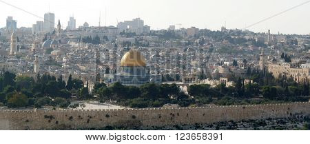 A panoramic view of the Dome of the Rock Jerusalem Israel.